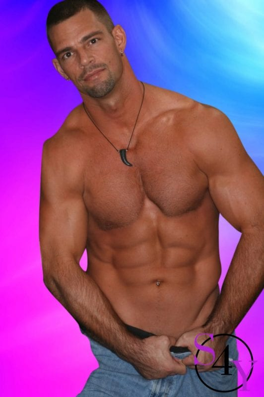 Tan muscle male stripper