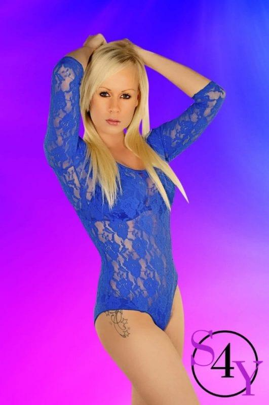 blonde female in blue lace