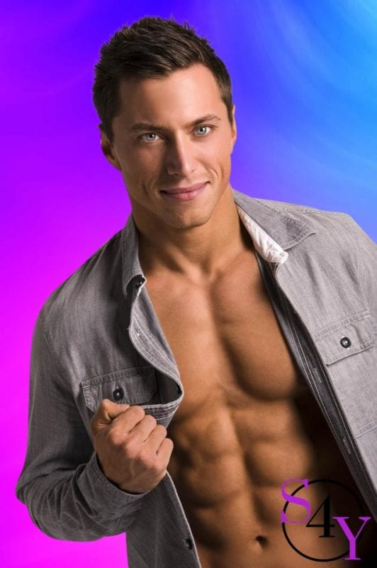sexy Logan Male Strippers with blue eyes
