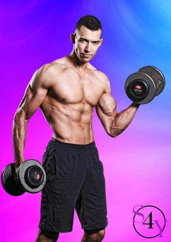 male stripper lifting weights