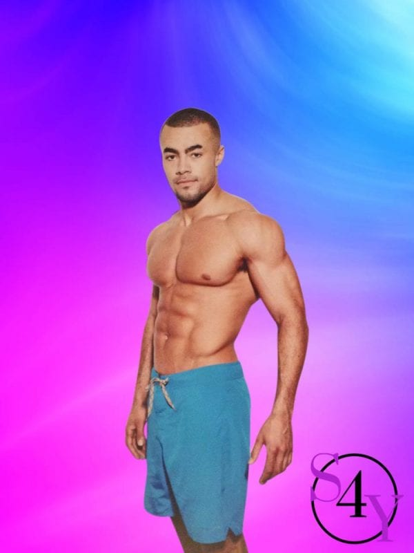 black male dancer in blue shorts