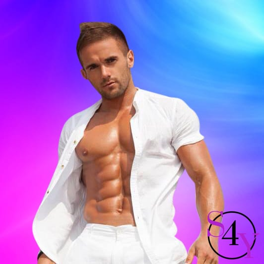 sexy buff stripper in white shirt