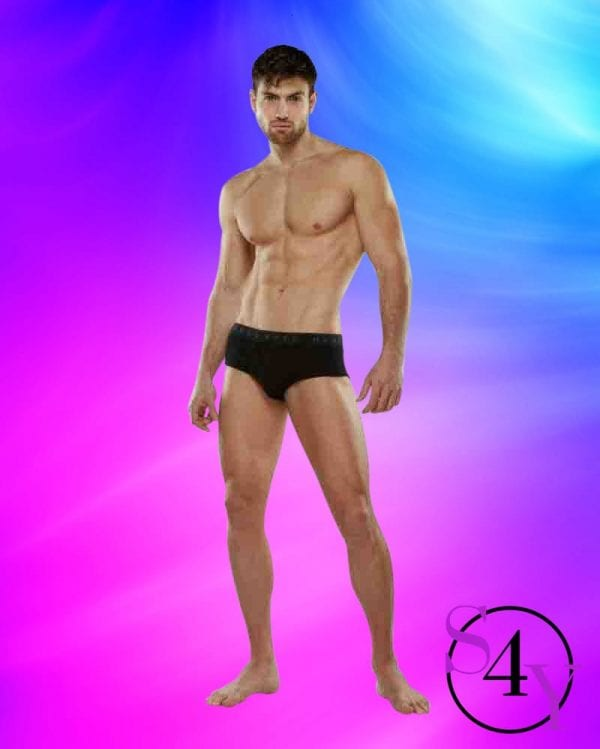 muscular male in black briefs