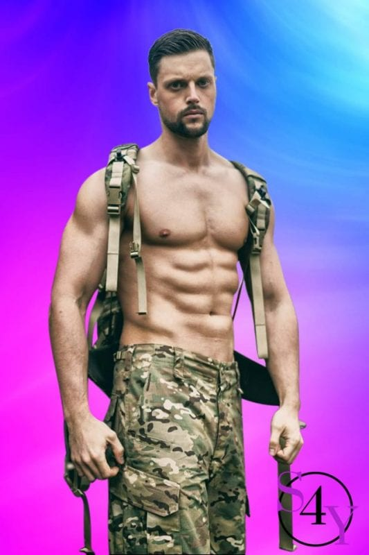 sexy male stripper in army camo