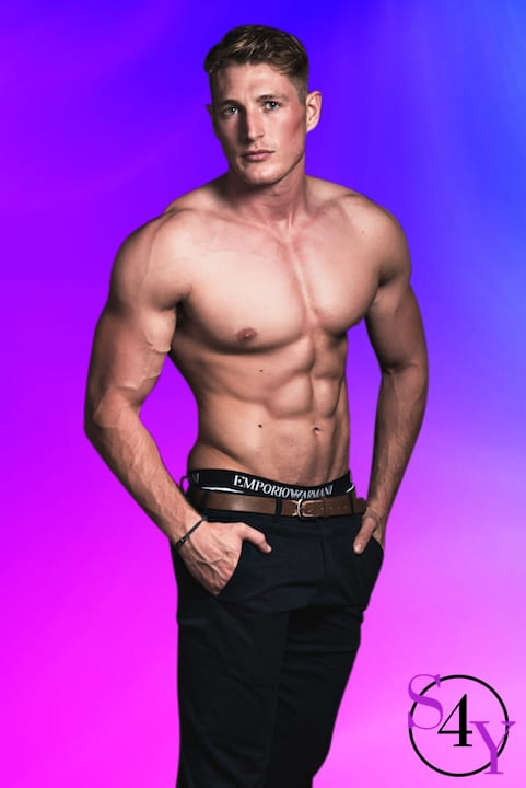 Hot male stripper in black pants