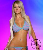 sexy blonde in light blue bikini