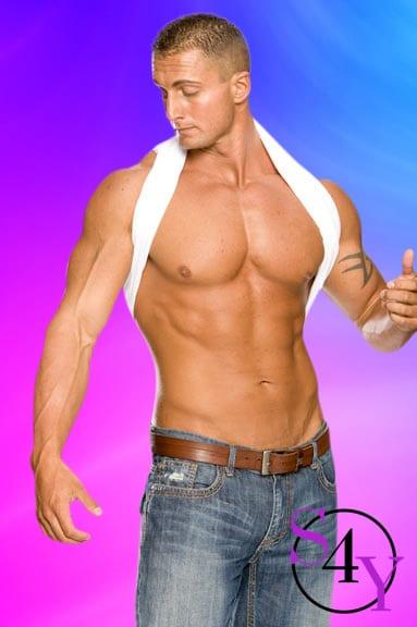 Buff male stripper taking off shirt