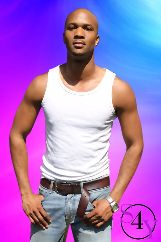 black male in white tanktop