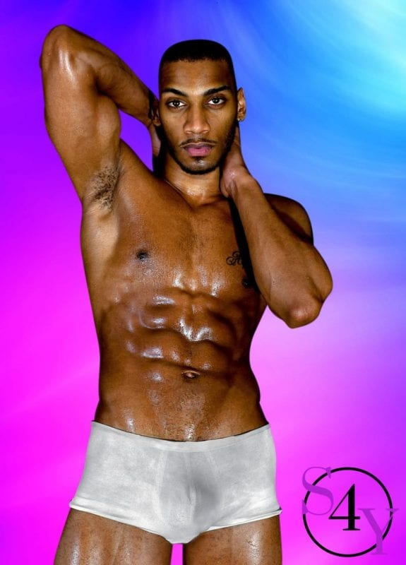 wet muscular black male