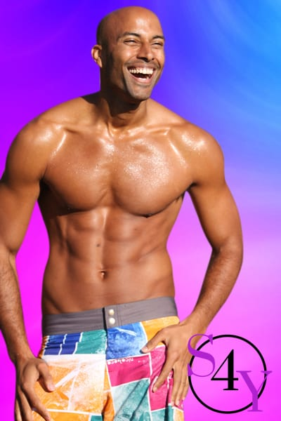 black male in swimsuit