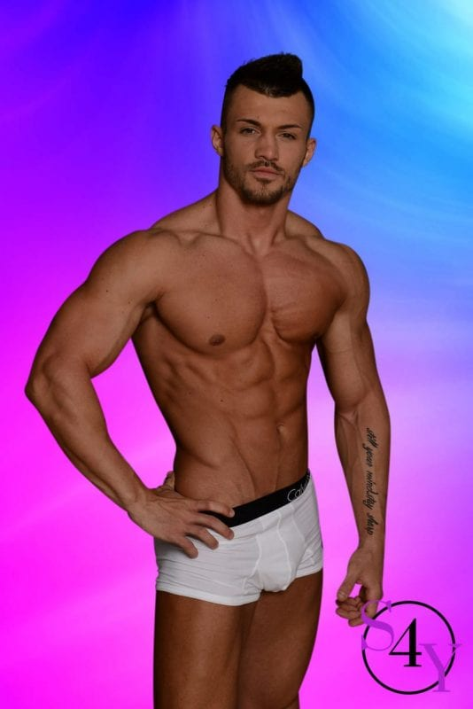 muscular male in white underwear