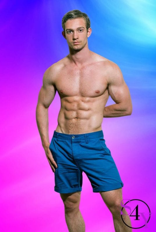 sexy male in blue shorts