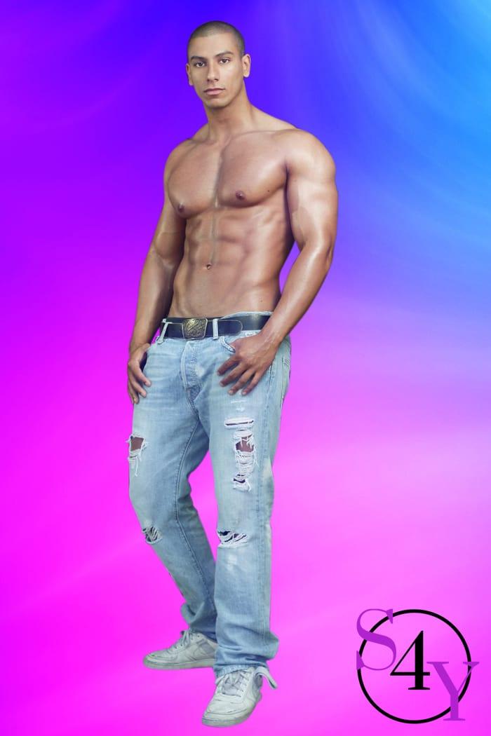 muscular black male in jeans