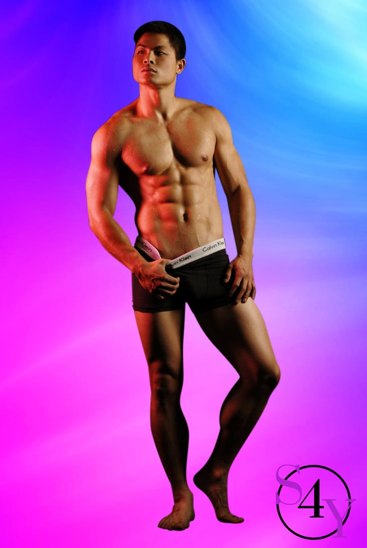 Asian Male with muscles in black underwear
