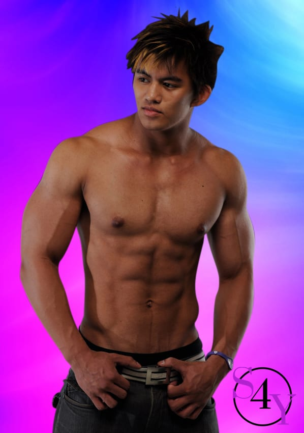 muscular asian male dancer