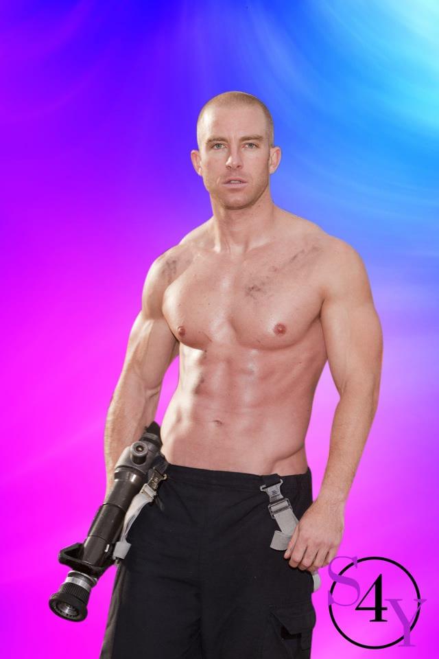 white male in fireman pants