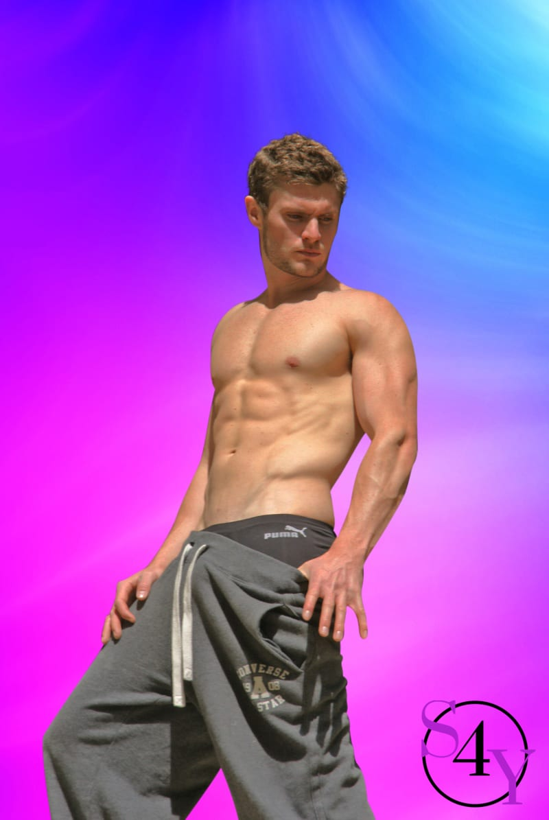 Sexy Male Stripper in gray shorts