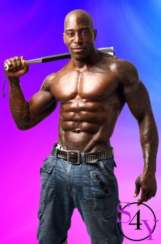 musclar black male stripper