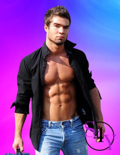 Tan man with black button down shirt open showing abs and jeans