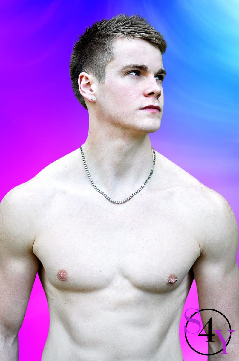 White Male with no shirt and necklace