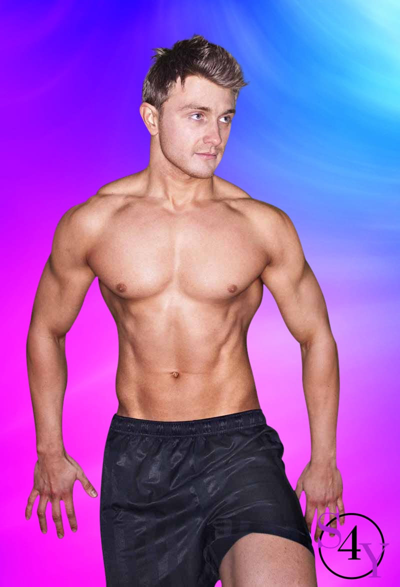 Muscular white male in black shorts