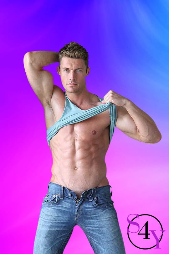White muscular male taking off blue tanktop