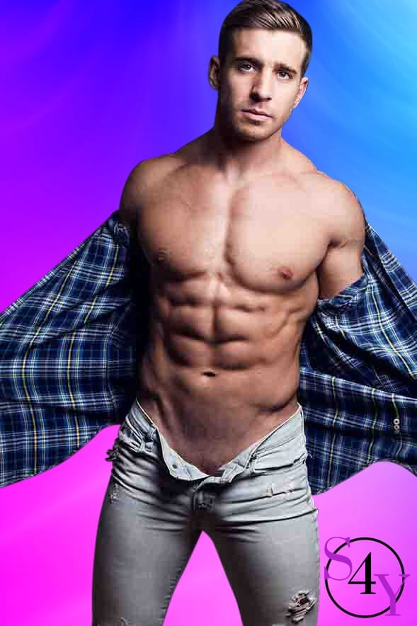buff male stripper taking off plaid shirt