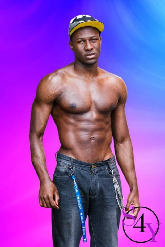 Black Male in Jeans and no shirt