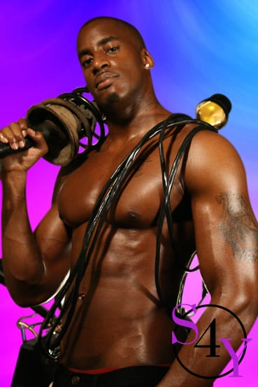 Black male working out