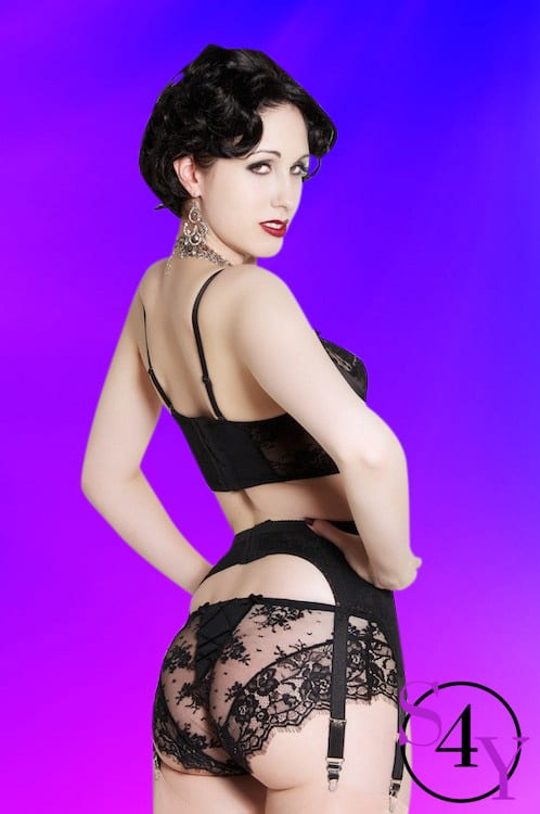 beautiful woman in black lace underwear