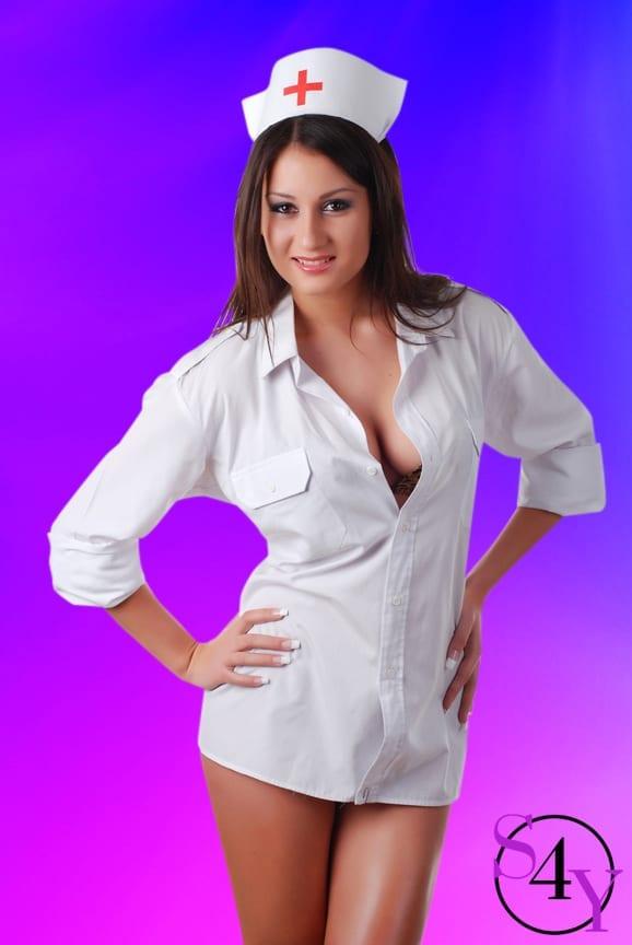nurse stripper in white coat