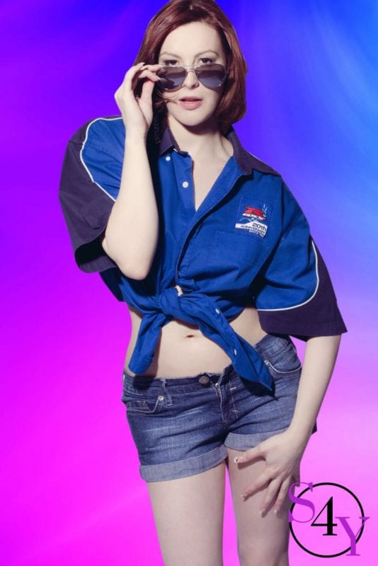 female dancer in blue shirt