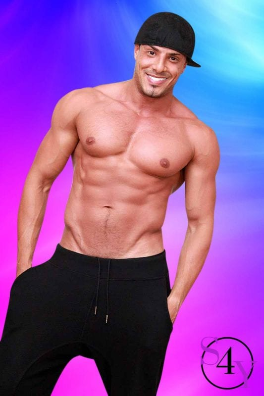 male dancer with backwards hat