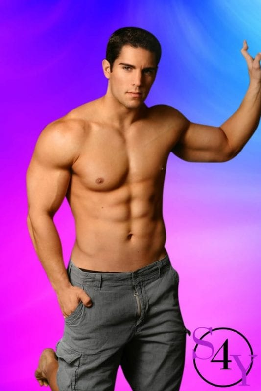 Hot man in gray pants