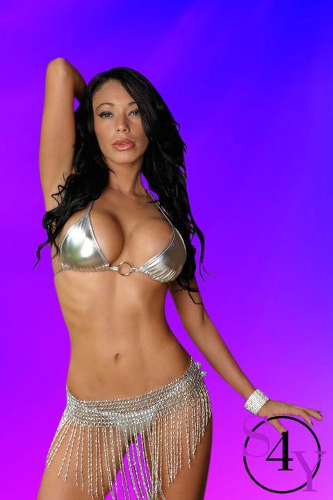 Gorgeous girl in silver bikini