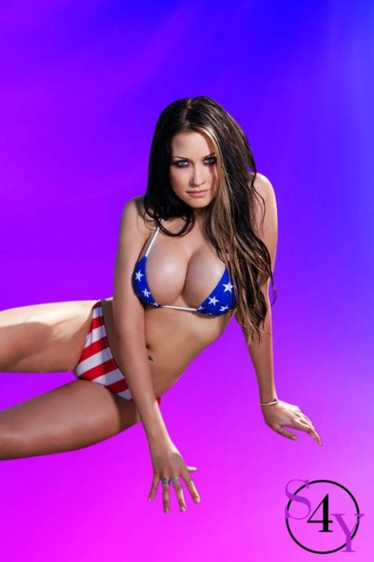 Sexy female in american flag bikini