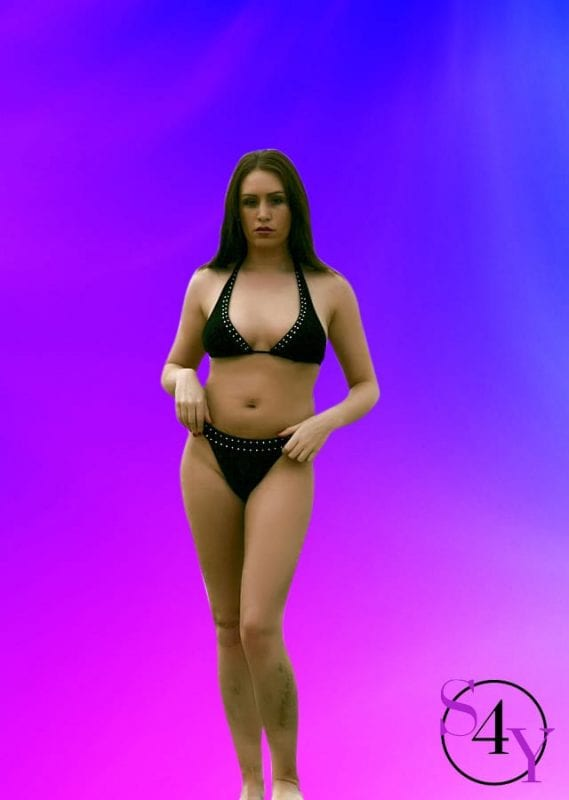 Hot stripper in black bikini
