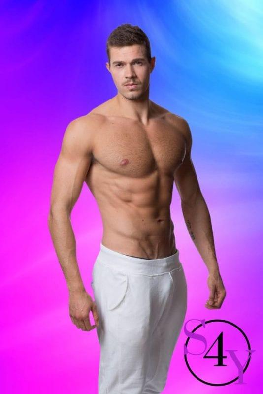 man in white pants