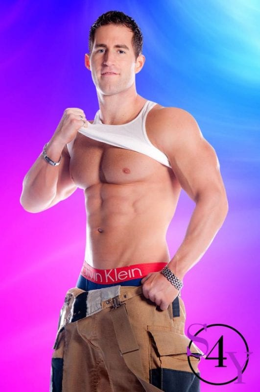 sexy fire fighter male taking shirt off