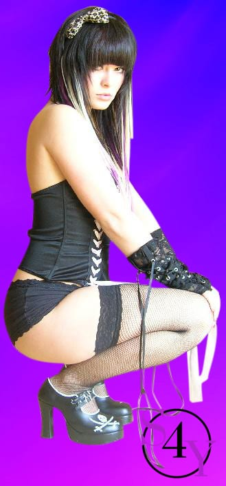 Sexy black hair girl in black underwear
